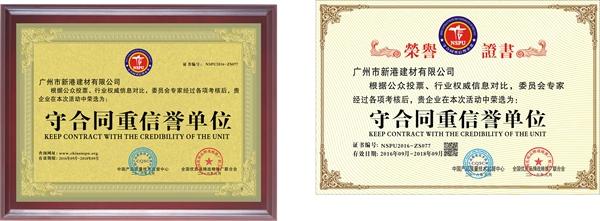 守合同重信誉单位证书